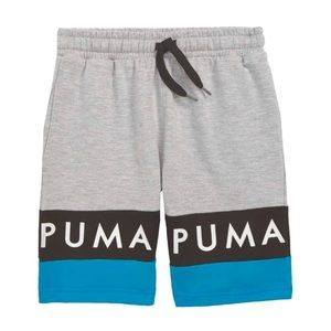PUMA Big Boys Shorts in Gray, Black and Blue Combo